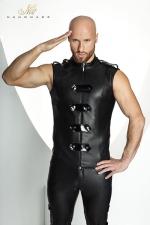 Veste STRONGER Clipped  : Veste sans manches ras du cou style uniforme d'apparat, ferm�e par un zip et des bandes de vinyle brillant.