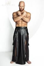 Jupe STRONGER Blade : Jupe longue pour homme style Samoura� en wetlook mat et tulle noir.